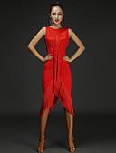 preiswerte Kleidung für Lateinamerikanischen Tanz-Latein-Tanz Kleider Damen Leistung Baumwolle / Chinlon Quaste / Farbaufsatz Ärmellos Normal Kleid