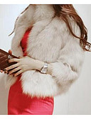 cheap Women's Fur Coats-Women's Casual/Daily Simple Fur Coat,Solid ¾ Sleeve White / Black Faux Fur
