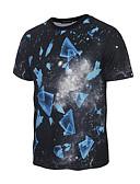 baratos Camisetas & Regatas Masculinas-Homens Camiseta - Esportes / Praia Activo / Boho Estampado Decote Redondo / Manga Curta