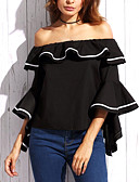 cheap Women's Blouses-Women's Going out Street chic Cotton Blouse - Solid Colored / Ruffle / Flare Sleeve / Sexy