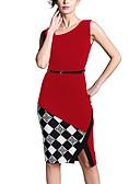 preiswerte Etuikleider-Damen Ausgehen / Arbeit Street Schick Baumwolle A-Linie Kleid Einfarbig Knielang Hohe Hüfthöhe