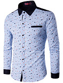 baratos Camisas Masculinas-Homens Tamanhos Grandes Camisa Social Estampado, Retalhos Algodão Colarinho Clássico / Manga Longa