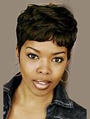 billige Truser-Human Hair Capless Parykker Ekte hår Bølget / Naturlige bølger Pixiefrisyre / Lagvis frisyre Afroamerikansk parykk / Til fargede kvinner / Med Bangs Kort Parykk Dame