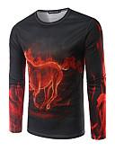 お買い得  メンズ アウター-男性用 日常 冬 Tシャツ, カジュアル ラウンドネック アニマルプリント コットン ノースリーブ