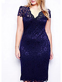 billige Kjoler i plus størrelser-Dame Plusstørrelser Tynd Bodycon Blonde Kjole - Ensfarvet V-hals