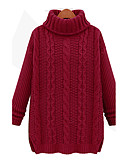 baratos Suéteres de Mulher-Mulheres Moda de Rua Manga Longa Algodão Longo Pulôver - Sólido Algodão