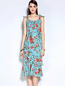 baratos Vestidos Femininos-Feminino Bainha Vestido, Casual Simples Floral Decote Redondo Médio Sem Manga Azul Algodão / Poliéster Outono Cintura MédiaSem