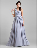 cheap Wedding Dresses-A-Line V Neck Floor Length Georgette Bridesmaid Dress with Sash / Ribbon / Criss Cross / Crystal Brooch by LAN TING BRIDE® / Convertible Dress