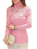 cheap Women's Sweaters-Women's Long Sleeves Slim Pullover - Solid, Lace Beaded Cut Out Turtleneck
