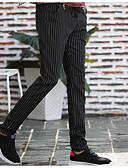 tanie Męskie spodnie i szorty-Męskie Wzornictwo chińskie Bawełna Szczupła Rurki / Typu Chino Spodnie - Prążki Czarny / Weekend