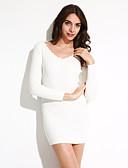 olcso Női ruhák-Szokványos Pulóver EgyszerűEgyszínű Kék / Rózsaszín / Piros / Fehér / Fekete / Barna / Szürke V-alakú Hosszú ujj Pamut TavasziKözepes