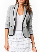 cheap Women's Blazers-Women's Work Plus Size Cotton Jacket-Solid Colored,Modern Style / Spring / Fall