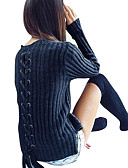 cheap Women's Sweaters-Women's Long Sleeves Slim Long Pullover - Solid