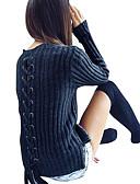 tanie Swetry damskie-Damskie Święto / Wyjściowe Casual / Moda miejska Szczupła Długie Pulower Solidne kolory Długi rękaw / Jesień / Zima / Wiązanie