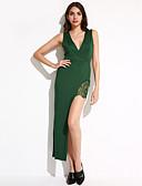 preiswerte Damen Kleider-Damen Bodycon Kleid-Party Sexy Solide V-Ausschnitt Asymmetrisch Ärmellos Baumwolle Samt Sommer Mittlere Hüfthöhe Dehnbar Mittel