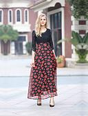 levne Dámské šaty-Dámské Volné Šaty - Květinový Maxi