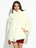abordables Abrigos y Gabardinas de Mujer-Mujer Básico Tallas Grandes Abrigo de Piel Corte Ancho Escote Chino-Un Color
