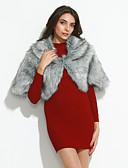 billige Læder & kunstlæderjakker til kvinder-Dame Ensfarvet Mode I-byen-tøj Cloak / Capes Imiteret pels / Vinter