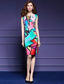cheap Women's Dresses-Women's Plus Size Daily / Holiday / Going out Street chic / Sophisticated Slim Bodycon / Sheath Dress - Geometric Print Summer Rainbow XL XXL XXXL
