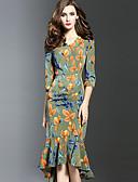 baratos Vestidos Plus Size-Mulheres Para Noite Tubinho Vestido - Pregueado, Estampado Decote V Assimétrico