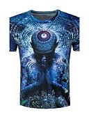 billige T-shirts og undertrøjer til herrer-Rund hals Herre - 3D Bomuld Afslappet Sport T-shirt Blå / Kortærmet / Sommer