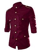 abordables Camisas de Hombre-Hombre Remache / Estampado Camisa, Cuello Inglés Un Color / Manga Larga