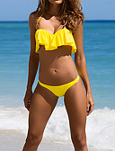 cheap Women's Jumpsuits & Rompers-Women's Ruffle Halter Neck Yellow Bandeau Cheeky Bikini Swimwear - Solid Colored Ruffle M L XL