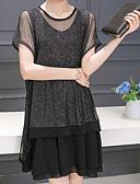 abordables Vestidos de Talla Grande-Mujer Tallas Grandes Pantalones - Un Color Reluciente Negro / Mini / Noche / Corte Ancho