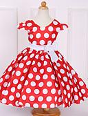 Χαμηλού Κόστους Φορέματα για κορίτσια-Νήπιο Κοριτσίστικα Φιόγκος Χριστούγεννα Πουά Κοντομάνικο Βαμβάκι / Πολυεστέρας Φόρεμα Θαλασσί