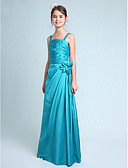 cheap Wedding Dresses-A-Line / Princess Spaghetti Strap Floor Length Taffeta Junior Bridesmaid Dress with Side Draping / Flower by LAN TING BRIDE® / Spring / Fall / Winter / Apple / Hourglass