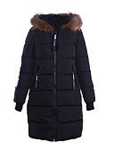 cheap Women's Downs & Parkas-Women's Long Padded Coat,Simple Going out Solid-Polyester Polypropylene Long Sleeve Stand Pink Red White Black Gray