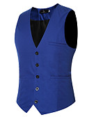 cheap Men's Blazers & Suits-Men's Daily / Work Spring / Summer / Fall Regular Vest, Solid Colored Long Sleeve Polyester Wine / Light Blue / Royal Blue XXXXL / XXXXXL / XXXXXXL / Slim