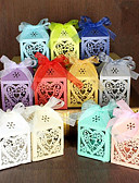 cheap Mother of the Bride Dresses-Round Square Pyramid Pearl Paper Favor Holder with Ribbons Printing Favor Boxes Gift Boxes - 100