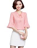 abordables Camisas y Camisetas para Mujer-Mujer Tallas Grandes Blusa, Escote en Pico Un Color / Verano / Volante