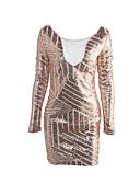 cheap Women's Dresses-Women's Club Street chic Bodycon Dress - Patchwork Sequins Mesh