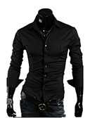 cheap Vintage Dresses-Men's Work Cotton Slim Shirt - Solid Colored Basic Spread Collar / Long Sleeve