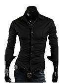 hesapli Erkek Gömlekleri-Erkek Pamuklu / Polyester İnce - Gömlek Solid Günlük / Resmi / Çalışma / Uzun Kollu