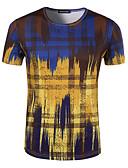 billige T-skjorter og singleter til herrer-Bomull Rund hals T-skjorte Herre - Ruter, Trykt mønster Aktiv Sport