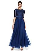 baratos Vestidos de Noite-Linha A Scoop pescoço Longo Chiffon Coquetel / Evento Formal Vestido com Apliques de TS Couture®