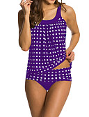 cheap Women's Swimwear & Bikinis-Women's Plus Size Strap Black Red Purple Briefs Tankini Swimwear - Polka Dot Print XL XXL XXXL