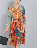 cheap Women's Dresses-Women's Plus Size Sophisticated Loose Dress Split Print V Neck