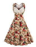 baratos Vestidos de Mulher-Mulheres Tamanhos Grandes Para Noite Vintage / Moda de Rua Algodão Evasê Vestido Floral Decote Princesa Altura dos Joelhos / Verão / Padrões florais