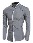 お買い得  メンズシャツ-男性用 ワーク シャツ ビジネス スタンドカラー ソリッド コットン ホワイト L / 長袖