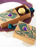 abordables Soportes para Regalo-50pcs caja de caramelos de pavo real favores de la boda caja