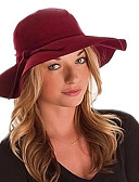 رخيصةأون قبعات نسائية-أسود أحمر جمل نبيذ أزرق البحرية قبعة فيدورا سادة كل الفصول صوف خليط قطن Vicose قديم كاجوال للمرأة