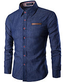 cheap Men's Shirts-Men's Cotton Slim Shirt - Solid Colored Classic Collar