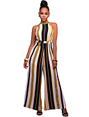 cheap Women's Jumpsuits & Rompers-Women's Wide Leg Daily / Going out / Club Street chic Crew Neck Red Yellow Wide Leg Jumpsuit, Striped M L XL Sleeveless
