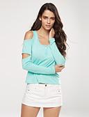 abordables Camisas para Mujer-Mujer Camiseta, Escote en U Un Color Algodón Licra