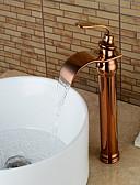お買い得  メンズシャツ-バスルームのシンクの蛇口 - 滝状吐水タイプ ローズゴールド センターセット シングルハンドルつの穴Bath Taps / 真鍮