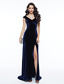 cheap Mother of the Bride Dresses-Sheath / Column V Neck Sweep / Brush Train Velvet Formal Evening Dress with Split Front by TS Couture®
